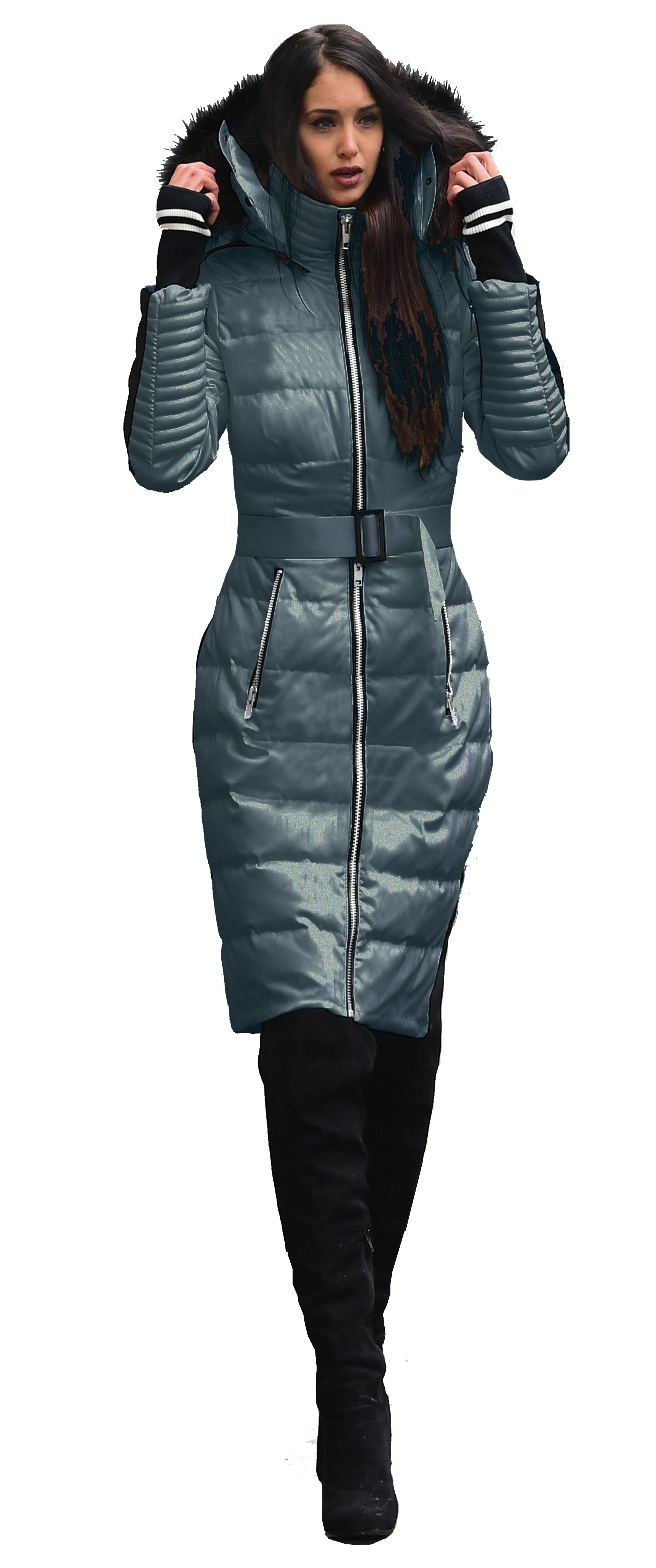 Grey Silver Smart Heated Down Jacket