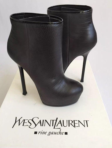 $1305 Yves Saint Laurent Tribtoo 105 Degrade Grey Ankle Booties - Sz 40