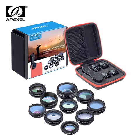APEXEL Phone lens kit universal 10 in 1 Fisheye Wide Angle macro Lens CPL Filter Kaleidoscope+2X telescope Lens for smartphone - UFO GEAR STORE