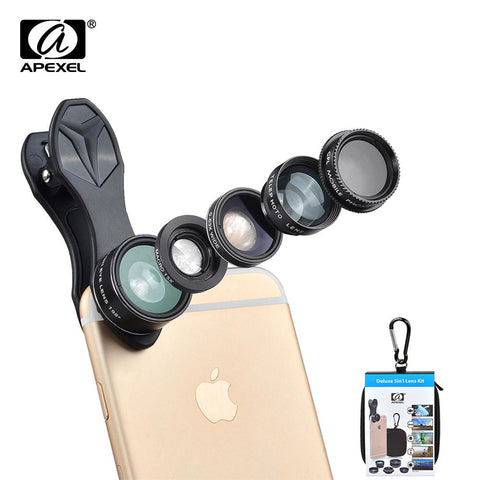 APEXEL 5 in 1 Fisheye Wide Angle Macro lens Telescope telephoto lens CPL Mobile Phone mini camera lens for iPhone Samsung xiaomi - UFO GEAR STORE