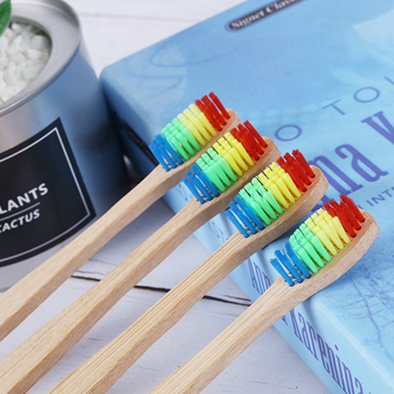 Family Friendly Rainbow Bamboo Toothbrush and Teether