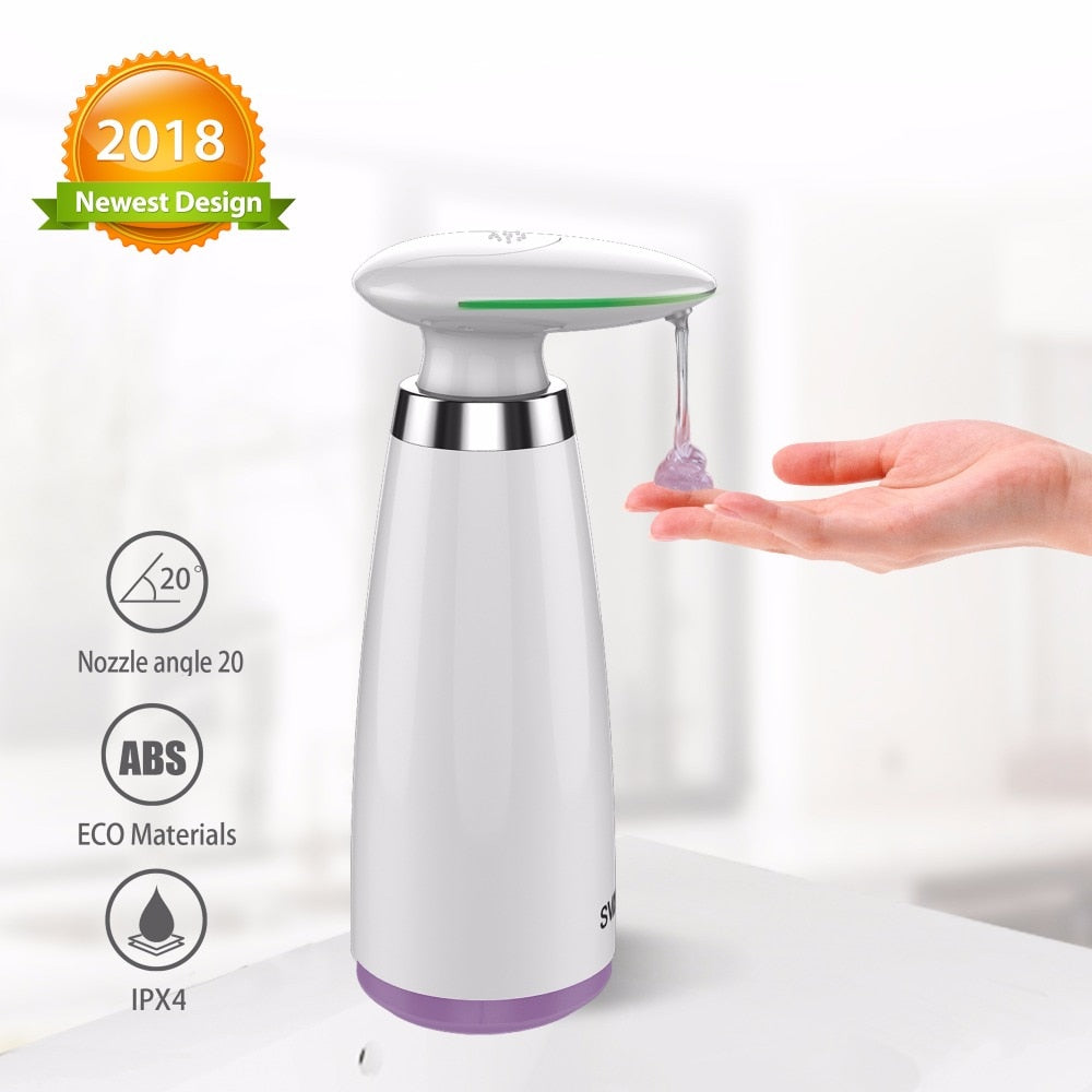350ml Automatic Soap Dispenser Hand Free Touchless Sanitizer Bathroom Dispenser Smart Sensor Liquid Soap Dispenser for Kitchen