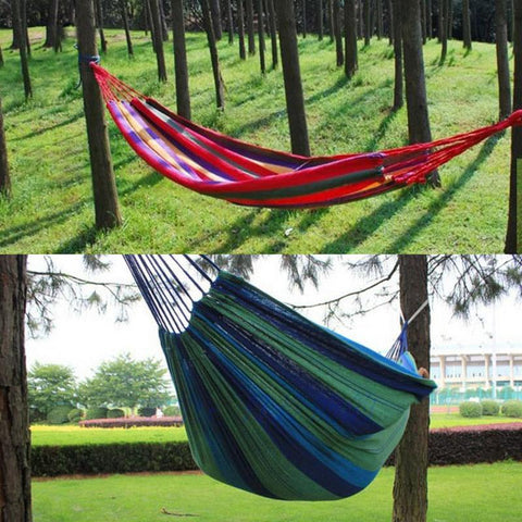 Image of Portable Hammock Outdoor Garden Hammock Hanging Bed for Home Travel Camping Hiking Swing Canvas Stripe Hammock Red
