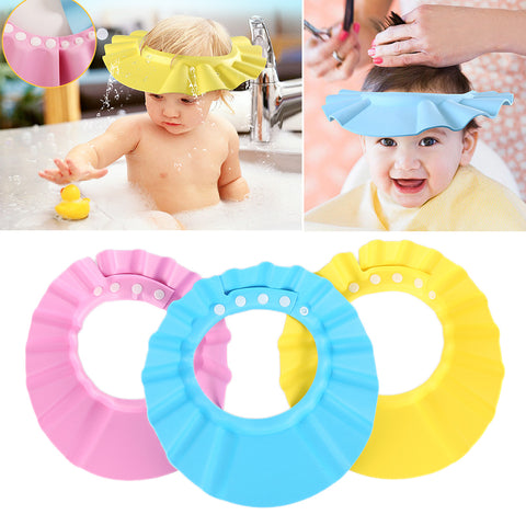 Image of NEW Baby Bath Hat Adjustable Elastic Kids Shower Cap Wash Hair Protects Soft Hats For Baby Waterproof Shield Baby Styling Tool