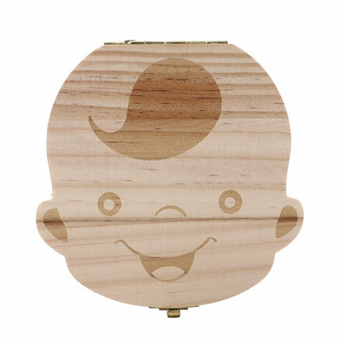 Image of Teeth Whitening,Wood Baby and Girl Boy Tooth Organizer Boxes Save Deciduous Teeth Storage Keepsakes Creative and Children Gift