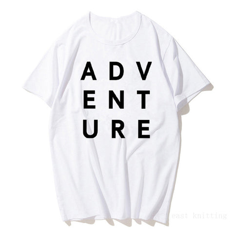 New Summer White Casual ADVENTURE Women Short Sleeve T shirt