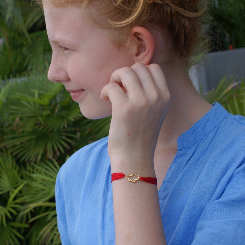Singapore Map Wishing Bracelet  in 18K Gold on Silver  with Red Silk band