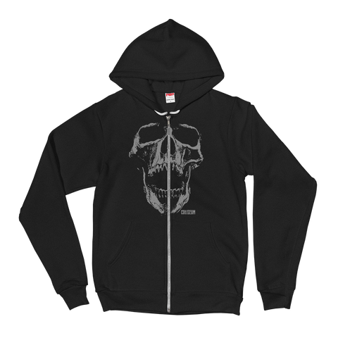 COLISEUM Grey Skull Zip-Up Hoodie