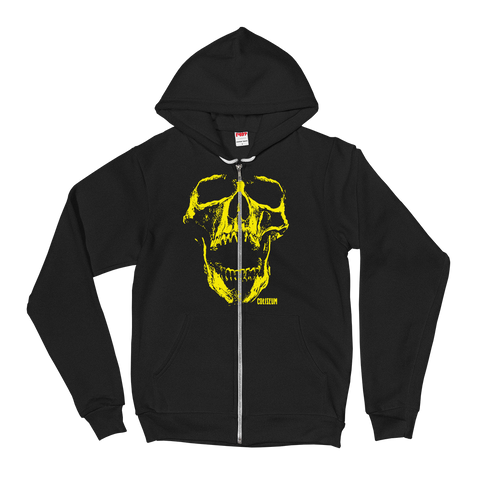 COLISEUM Yellow Skull Zip-Up Hoodie