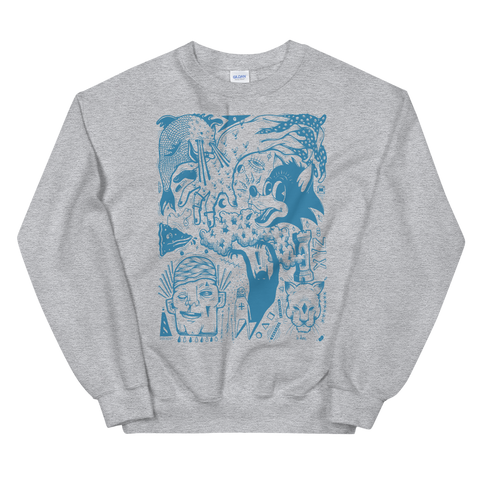 HAYDEN MENZIES Wolf Crewneck Sweatshirt White/Grey