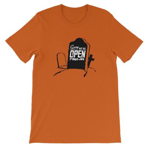 RYAN PATTERSON Sorry We're Open Red/Orange Shirt