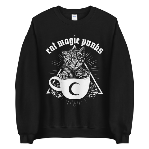 CAT MAGIC PUNKS Kitty Cup Crewneck Sweatshirt