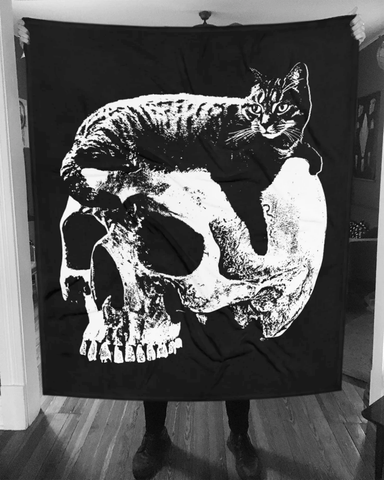 CAT MAGIC PUNKS Willie Skull Blanket