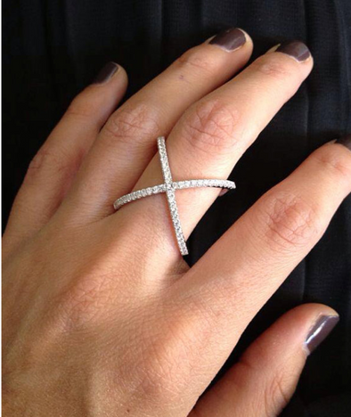"""X"" Delicate Cubic Zirconia Diamond Cross Ring 925 Sterling Silver"