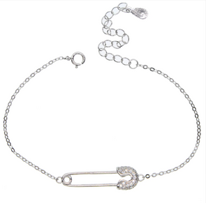 Safety Pin Charm Bracelet 925 Sterling Silver