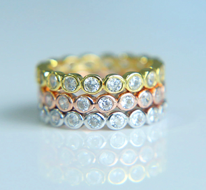 Set of 3 Cubic Zirconia Diamond Eternity Rings 925 Sterling Silver (Gold, Rose Gold, Silver)
