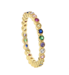 Silvia Gold Rainbow Cubic Zirconia Eternity Stackable Ring 925 Sterling Silver