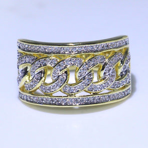 Gold Chain with Cubic Zirconia Diamonds Ring 925 Sterling Silver