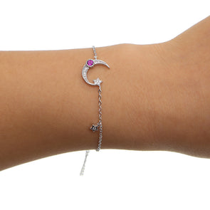 Big Moon And Stars 925 Sterling Silver Charm Bracelet