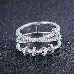 Cubic Zirconia Pave Diamond Circle Ring 925 Sterling Silver