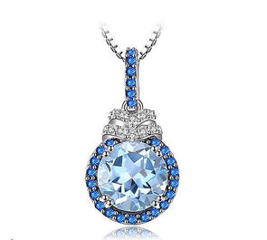 1.6ct Round Blue Topaz & Simulated Blue Sapphire