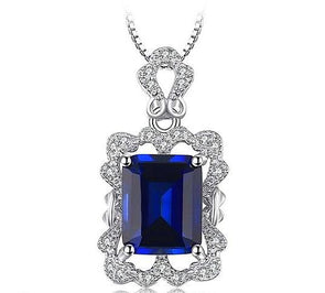 925 Sterling Silver Pendant 4.1ct Simulated Blue Sapphire