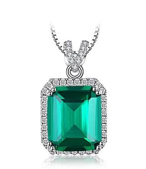5ct Simulated Square Emerald Green 925 Sterling Silver Pendant