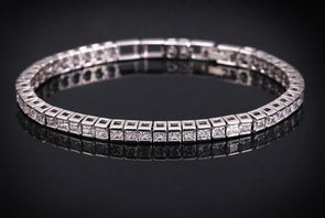 Square Cubic Zirconia Diamond Tennis Bracelet 925 Sterling Silver