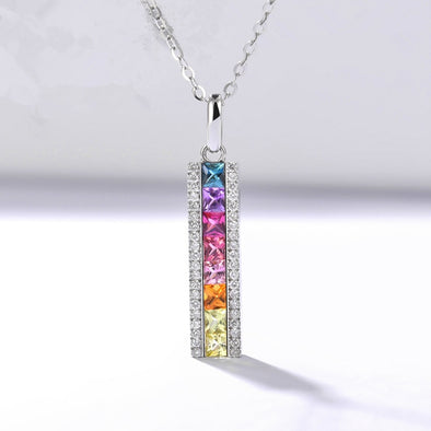 Cubic Zirconia Rainbow Stones Pendant 925 Sterling Silver