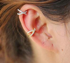 """X"" Cartilage Cuff Earring with Cubic Zirconia Diamonds 925 Sterling Silver"