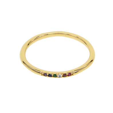 Samantha Gold Rainbow Stone Cubic Zirconia Ring 925 Sterling Silver