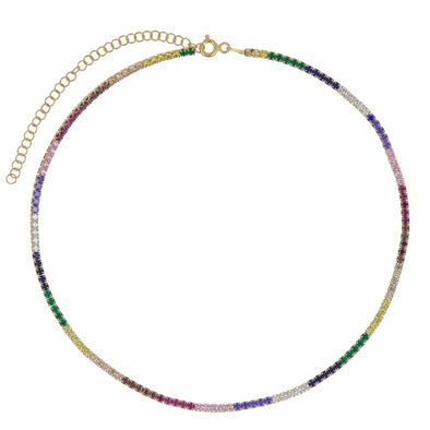 Alexa Gold Rainbow Cubic Zirconia Diamond Tennis Choker Necklace 925 Sterling Silver