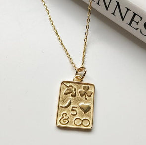 Gold Good Luck Symbols Charm Necklace 925 Sterling Silver