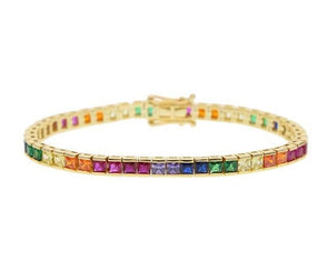 Rainbow Cubic Zirconia Diamond Tennis Bracelet 925 Sterling Silver