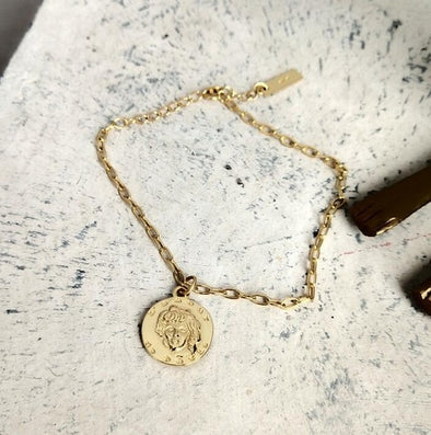 Gold Coin Charm Bracelet 925 Sterling Silver