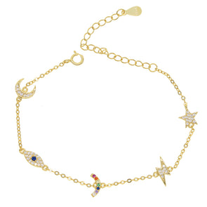 Gold Rainbow, Sun, Moon & Star Charm 925 Sterling Silver Bracelet