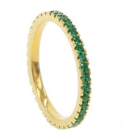 Julie Gold Cubic Zirconia Ring 925 Sterling Silver (Pink, Green, Blue)