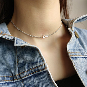 "Silver Curb Chain ""LOVE"" Choker Necklace 925 Sterling Silver"