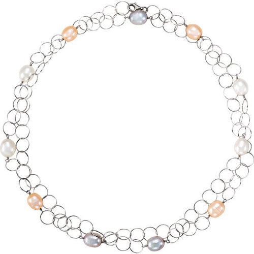 a multi-colored chain-link pearl necklace