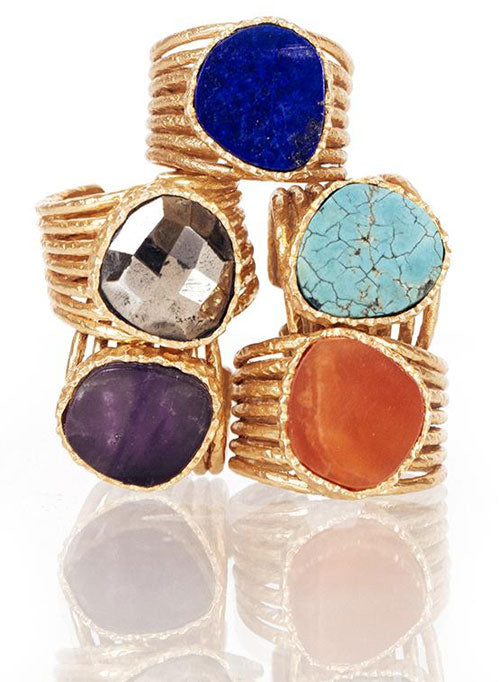 a selection of stackable rings with large stones