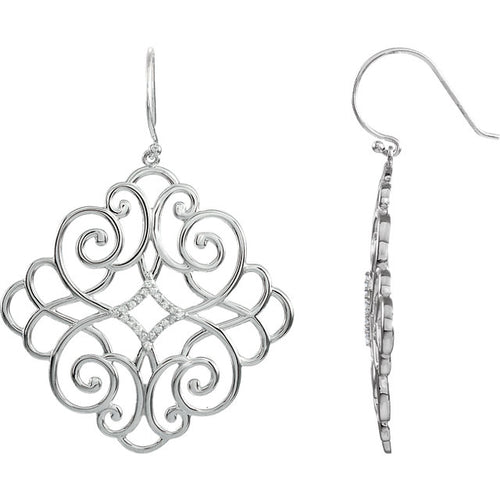 Orleans Sterling Silver Diamond Filigree Scroll Earrings by Parker Edmond - ParkerEdmond