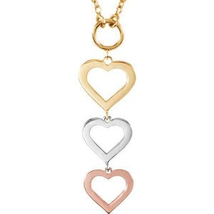 Unique 14K White/Yellow/Rose gold Tri-Color Heart Necklace
