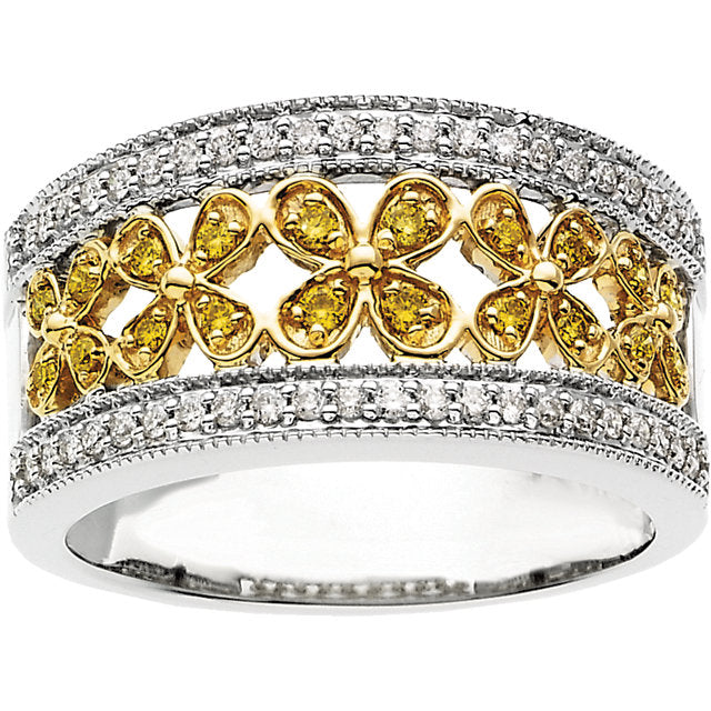 Gorgeous 3/8 CTW Yellow & White Diamond Floral-Inspired Ring by Parker Edmond - ParkerEdmond
