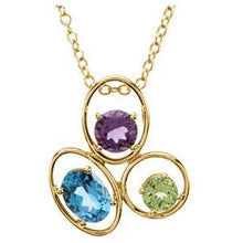 "Load image into Gallery viewer, Elegant 14K Yellow Swiss Blue Topaz, Amethyst & Peridot 18"" Necklace by Parker Edmond - ParkerEdmond"