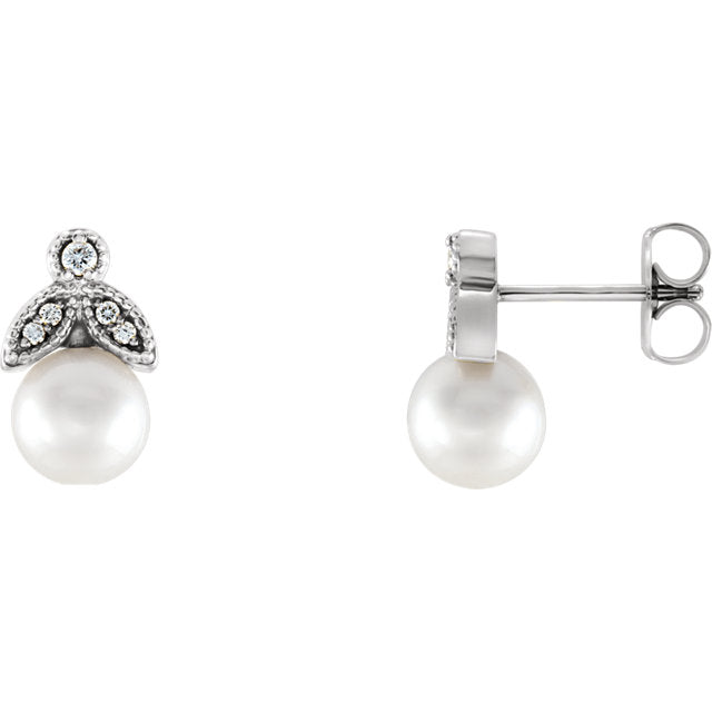 Sophisticated 14K Gold White Freshwater Pearls & .07 CTW Diamond Earrings by Parker Edmond - ParkerEdmond