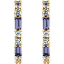 Load image into Gallery viewer, Choose Your Favorite Genuine Gemstone Emerald or Tanzanite Accented Diamond Earrings by Parker Edmond - ParkerEdmond