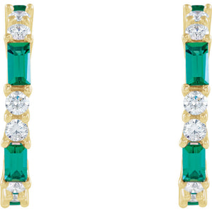 Choose Your Favorite Genuine Gemstone Emerald or Tanzanite Accented Diamond Earrings by Parker Edmond - ParkerEdmond
