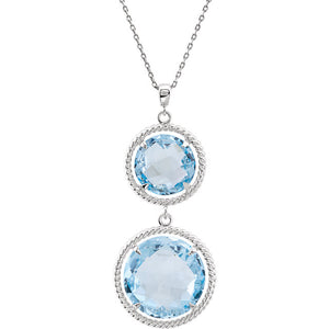Elegant Two Stone Sky Blue Genuine Topaz Necklace by Parker Edmond - ParkerEdmond