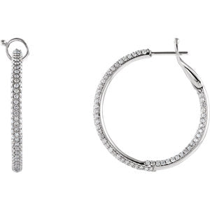 Stunning 14K White Gold 2 CTW Diamond Inside/Outside Hoop Earrings by Parker Edmond - ParkerEdmond