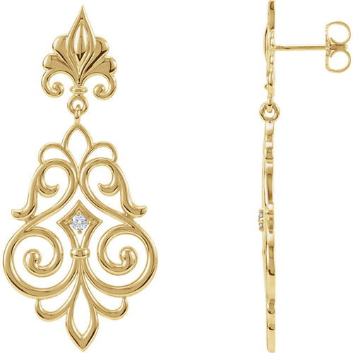 Designer 14K Yellow .06 CTW Diamond Decorative Dangle Earrings by Parker Edmond - ParkerEdmond